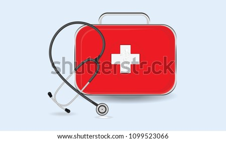 Medical box and stethoscope - flat style - vector. The concept of first aid