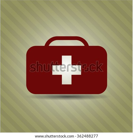 Medical briefcase vector icon or symbol