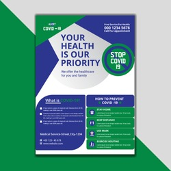 Medical Brochure. corona virus flyer template, COVID- 19, A4 flyer design template. Leaflets a4 Template. Cover Book and Magazine. Annual Report Vector illustration - Vector.