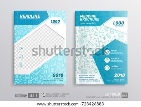 Medical Brochure corporate identity cover design Mockup. Fresh blue and white color geometric graphics elements on cover with Thin line medicine icons. Concept for medical pharmcy annual report