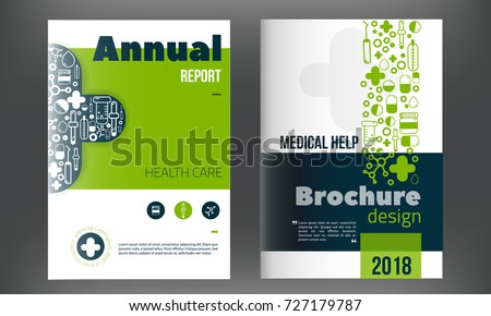 Medical Brochure Cover Template in blue color. Flyer with inline medicine icons, Modern clean Infographic Concept for annual report. Vector