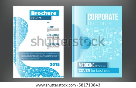 Medical Brochure Design Template. Flyer with inline medicine icons, Modern Infographic Concept for annual report. Vector