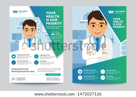 Medical Brochure. Flyer Design. Leaflets a4 Template. Cover Book and Magazine. Annual Report Vector illustration - Vector