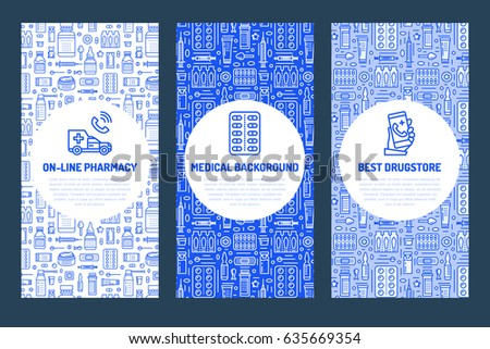 Medical brochure template, drugstore flyer. Vector trifold blue background. Pharmacy medicines thin line icons - tablet, capsules, pills, antibiotics, vitamins. Cute illustration for hospital poster.