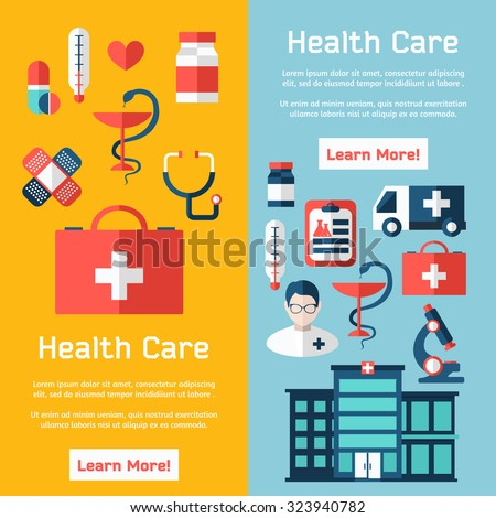 Medical brochure template for web or print. Flat design concepts for web sites, printed materials, infographics. Medical flyer and banners design.
