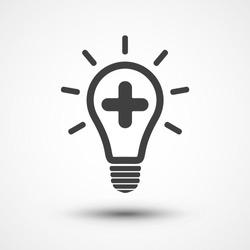 Medical Bulb vector icon. Create idea icon. Add icon. Plus symbol. Light bulb icon. Lamp illustration. Positive thinking concept.