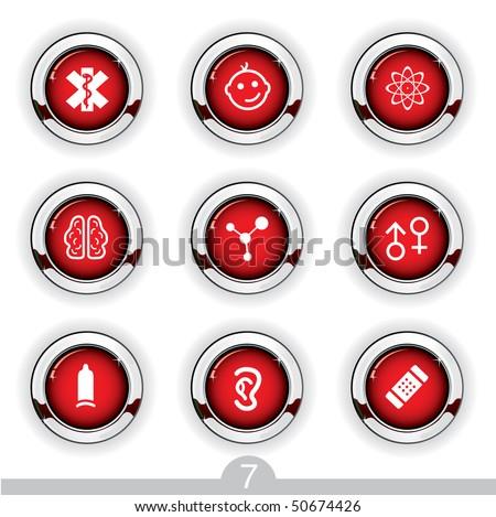 Medical button series 7 - stock vector