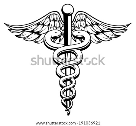 medical caduceus black and