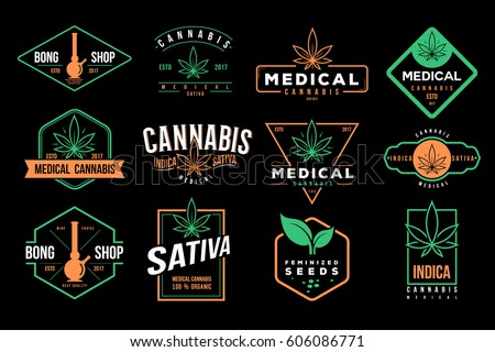 medical cannabis emblems  label