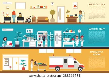 Medical Care and Staff Emergency room flat hospital interior concept web vector illustration. Doctor, Nurse, First Aid, Clinic. Medicine service presentation