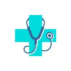 Medical care cross logo with stethoscope equipment around. Medicine symbol icon.