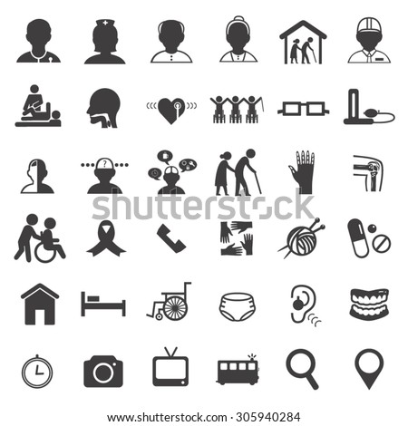 medical care in elderly icon set