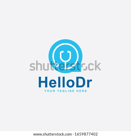 Medical care logo design. Hello doctor abstract vector. Bubble chat and stethoscope icon symbol.