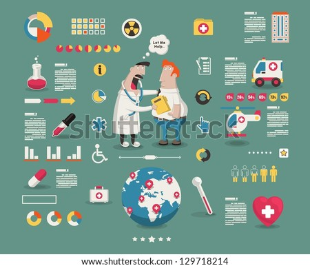 medical cartoon info graphic elements,