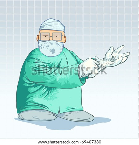 Vector medical cartoons surgeon putting on his gloves detailed vector