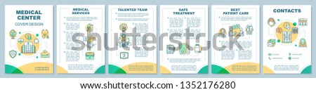 Medical center brochure template layout. Quality treatment, care. Flyer, booklet, leaflet print design with linear illustrations. Vector page layouts for magazines, annual reports, advertising posters