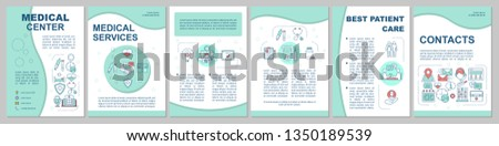 Medical center brochure template layout. Quality treatment. Flyer, booklet, leaflet print design with linear illustrations. Vector page layouts for magazines, annual reports, advertising posters