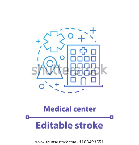 Medical center concept icon. Clinic, hospital. Medicine and healthcare idea thin line illustration. Vector isolated outline drawing. Editable stroke