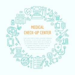 Medical center poster template. Vector line icon, illustration of health check up. Equipment - mri, cardiogram, doctor, ultrasound, blood test.