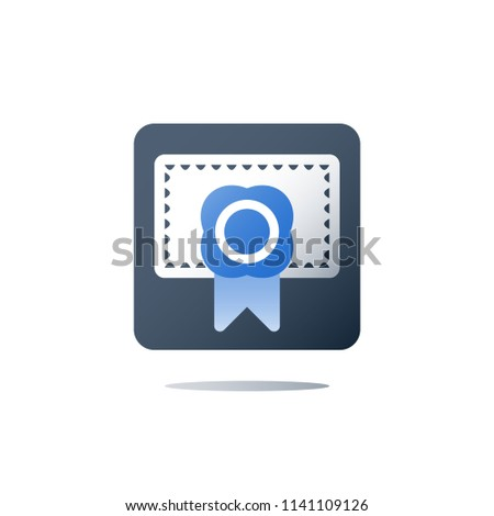 Medical certificate, clinic diploma, health care services, licence concept, education diploma, complete course, patent registry, vector icon, flat illustration