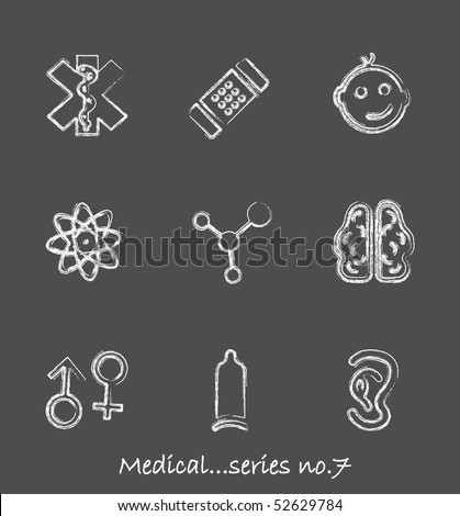 Medical chalkboard icons...series no.7
