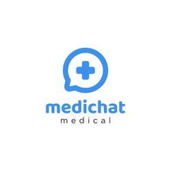 Medical chat logo design template is simple and abstract style with the concept of medical consultation through digital chat technology