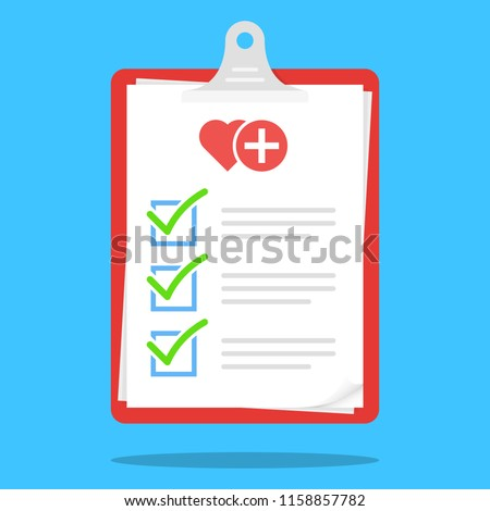 Medical Check List Clipboard Illustration Vector Icon