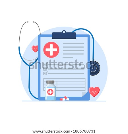 medical check up, medical record concept metaphor illustration flat design vector, simple and modern style graphic elements for website, web pages, templates, info graphic, web banners