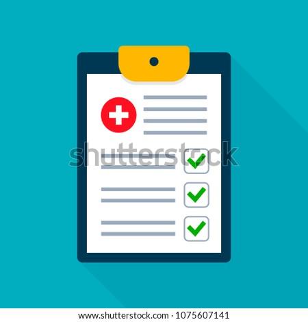 Medical Checklist Health check form on clipboard. Vector flat illustration health checkup healthcare concept.