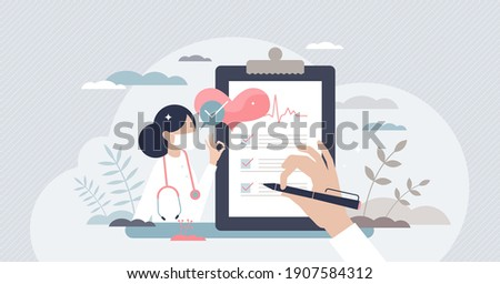 Medical checkup as annual doctor health test appointment tiny person concept. Preventive examination reduce illness and disease diagnosis vector illustration. Patient consults hospital specialist.