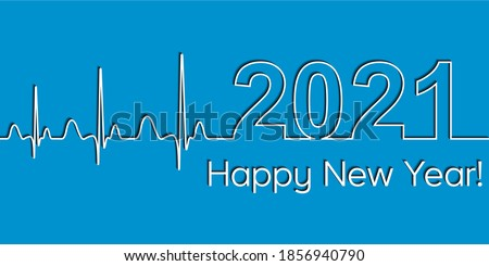 Medical Christmas banner, 2021 happy new year, vector 2021 health medical style wave heartbeat, concept fitness  healthy lifestyle