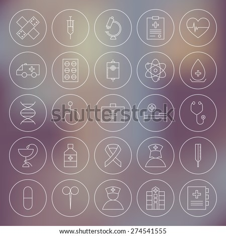 Medical Circle Health Care Icons Set. Vector Set of Medical Modern Thin Line Icons for Web and Mobile Circle Shaped over Blurred Background