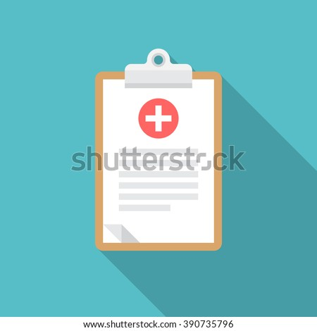 Medical clipboard icon with long shadow. Flat design style. Clipboard silhouette. Simple icon. Modern flat icon in stylish colors. Web site page and mobile app design element.