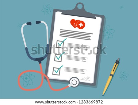 Medical Clipboard.Medical report with stethoscope and pen. Stethoscope with clipboard