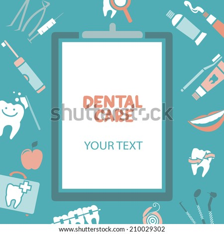 Medical clipboard with dental care text Dental care design concept Dental floss teeth mouth tooth paste etc