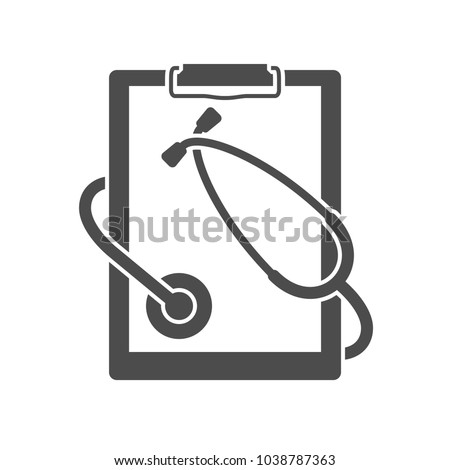 Medical clipboard with stethoscope | Vector blank icon isolated on white