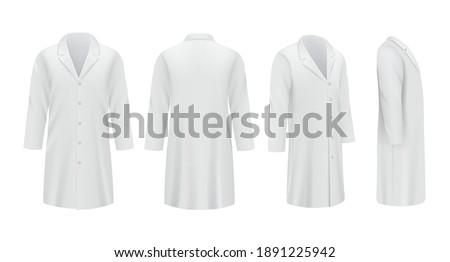 Medical coats. White templates professional doctor clothes specialists uniform decent vector mockup Сток-фото ©