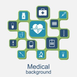 Medical concept background. Icons of medical equipment, diagnostics and medicine. Abstract medicine background. Vector illustration.
