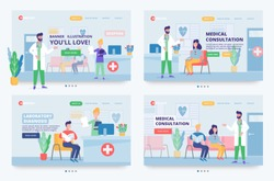 Medical concept banners templates. Consultation with a doctor, illustration of medical care with characters of certified doctors, nurses in a hospital reception. Hospital services site header.