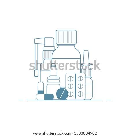 Medical concept. Cold, flu, cough medicines: medicinal syrup, nasal spray, throat spray, pills, capsules.