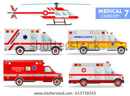 Medical concept. Detailed illustration of ambulance cars and helicopter in flat style on white background. Vector illustration