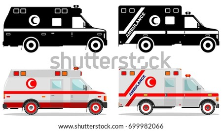 Medical concept. Different kind muslim car ambulances isolated on white background in flat style: colored and  black silhouette. Vector illustration.