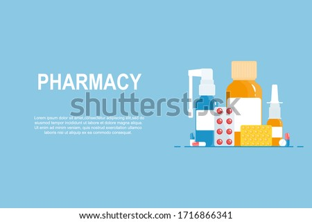 Medical concept. Set of medicines on a blue background. Pharmacy web banner. Health and pharmacy, sale of drugs. Cold, flu, cough drugs: medicinal syrup, nose spray, throat spray, tablets, capsules.