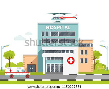 Medical concept with hospital building in flat style. City background with hospital building, ambulance car and helicopter isolated on white