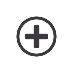 Medical Cross Icon. Vector add, plus button icon.