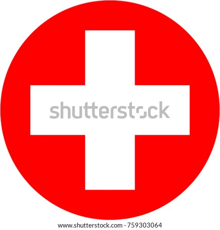 Medical cross in red round.