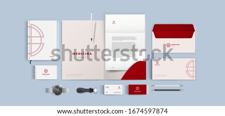 Medical cross lines logo corporate branding on red background. Corporate identity for medical firm and hospital. Health care company vector template. Realistic top view mock up mega pack.