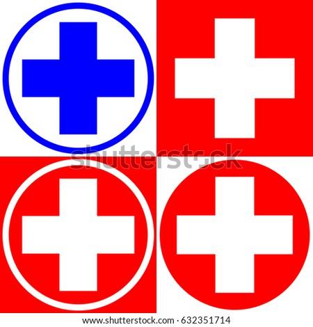 Medical cross. Set of medical symbols options. Vector illustration.