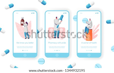 Medical Customer Seller, Healthcare Concept Mobile App Page Onboard Screen Set. Pharmacist Sale Antibiotic, Vitamin and Pill with Prescription for Website or Web Page. Flat Cartoon Vector Illustration