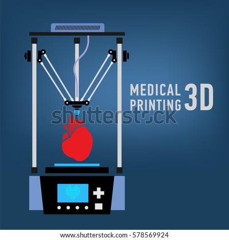 Medical 3d printer for duplication of human organs. 3D Bio-printer.Vector illustration